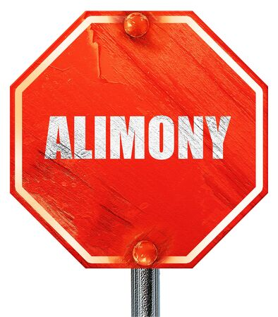alimony: alimony, 3D rendering, a red stop sign