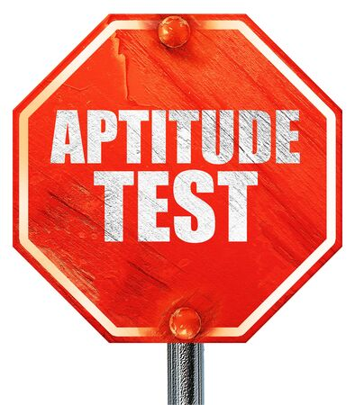 aptitude: aptitude test, 3D rendering, a red stop sign Stock Photo