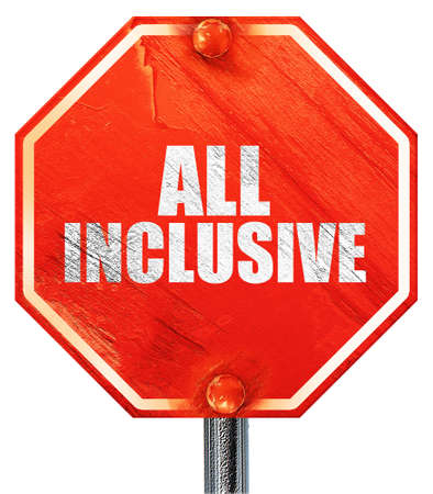 inclusive: all inclusive, 3D rendering, a red stop sign Stock Photo