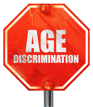 pension cuts: age discrimination, 3D rendering, a red stop sign Stock Photo
