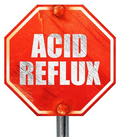 acid reflux: acid reflux, 3D rendering, a red stop sign