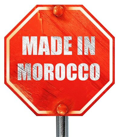 made in morocco: Made in morocco with some soft smooth lines, 3D rendering, a red stop sign