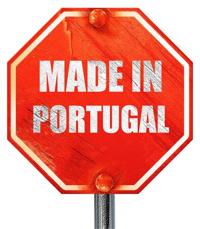 made in portugal: Made in portugal with some soft smooth lines, 3D rendering, a red stop sign