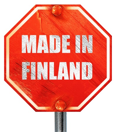 made in finland: Made in finland with some soft smooth lines, 3D rendering, a red stop sign