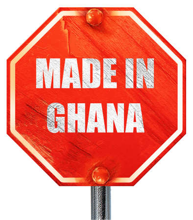ghanese: Made in ghana with some soft smooth lines, 3D rendering, a red stop sign