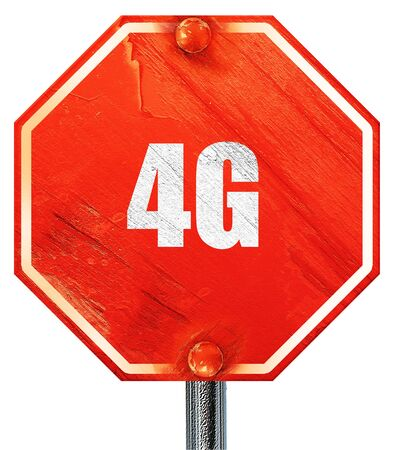 4g: 4g, 3D rendering, a red stop sign