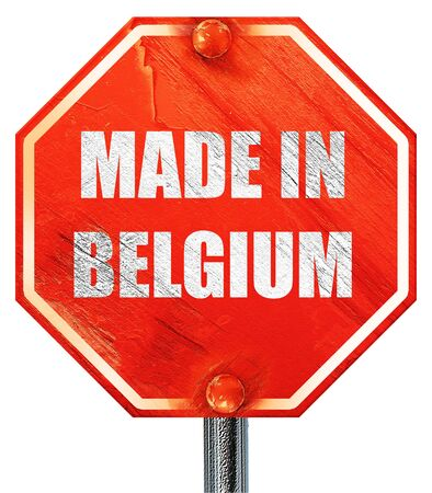 made in belgium: Made in belgium with some soft smooth lines, 3D rendering, a red stop sign