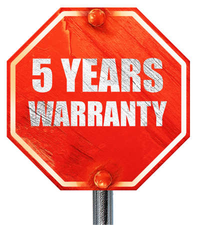 5 years: 5 years warranty, 3D rendering, a red stop sign