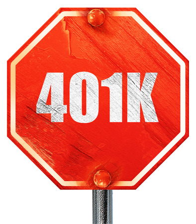 roth: 401k, 3D rendering, a red stop sign Stock Photo