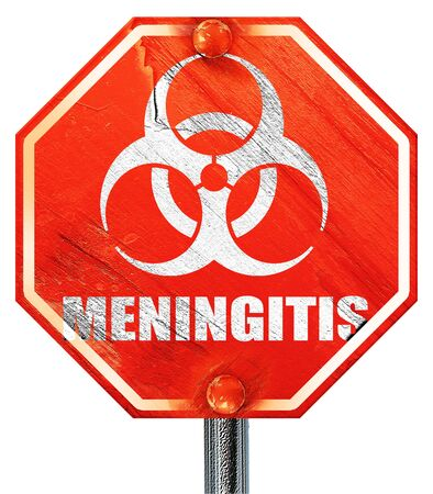 meningitis: meningitis virus concept background with some soft smooth lines, 3D rendering, a red stop sign