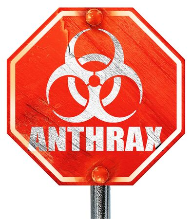 anthrax: Anthrax virus concept background with some soft smooth lines, 3D rendering, a red stop sign