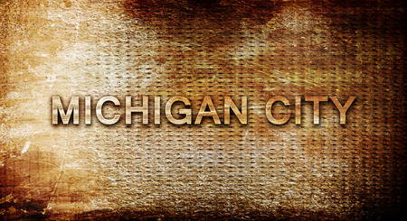 rusts: michigan city, 3D rendering, text on a metal backgroundnil