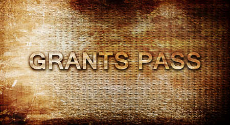 grants: grants pass, 3D rendering, text on a metal backgroundnil