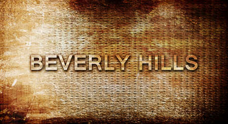 beverly hills: beverly hills, 3D rendering, text on a metal backgroundnil Stock Photo