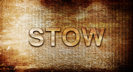stow: stow, 3D rendering, text on a metal backgroundnil