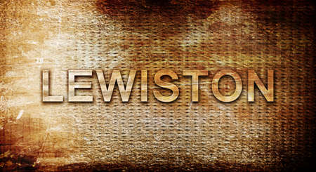 lewiston: lewiston, 3D rendering, text on a metal backgroundnil