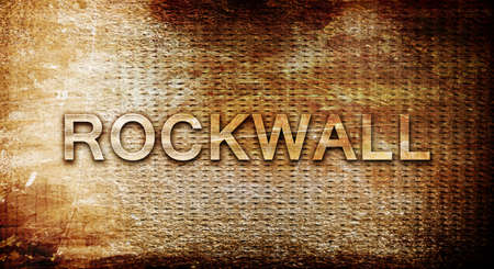 rockwall: rockwall, 3D rendering, text on a metal backgroundnil Stock Photo