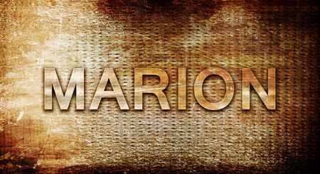 marion: marion, 3D rendering, text on a metal backgroundnil