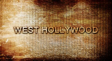 west hollywood: west hollywood, 3D rendering, text on a metal backgroundnil Stock Photo