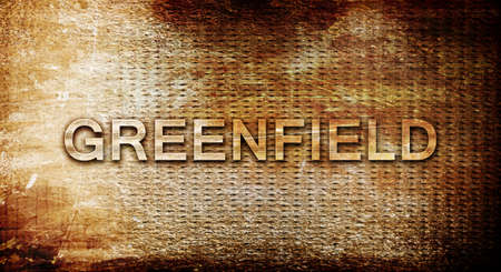 greenfield: greenfield, 3D rendering, text on a metal backgroundnil