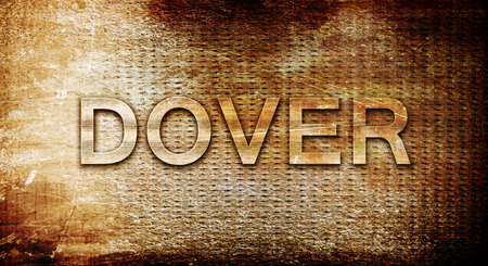 dover: dover, 3D rendering, text on a metal backgroundnil Stock Photo