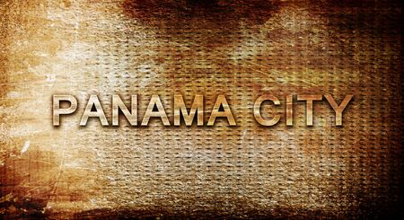 panama city: panama city, 3D rendering, text on a metal backgroundnil