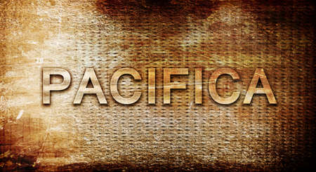 rusts: pacifica, 3D rendering, text on a metal backgroundnil