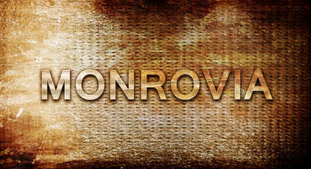 rusts: monrovia, 3D rendering, text on a metal backgroundnil Stock Photo