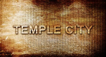 3d temple: temple city, 3D rendering, text on a metal backgroundnil