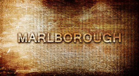 rusts: marlborough, 3D rendering, text on a metal backgroundnil Stock Photo
