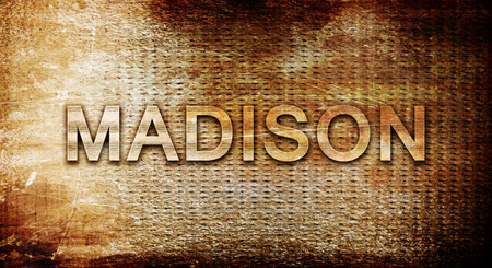 madison: madison, 3D rendering, text on a metal backgroundnil