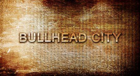 bullhead: bullhead city, 3D rendering, text on a metal backgroundnil