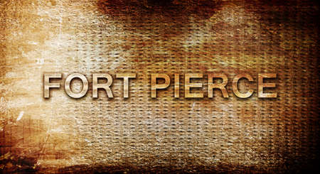 pierce: fort pierce, 3D rendering, text on a metal backgroundnil Stock Photo