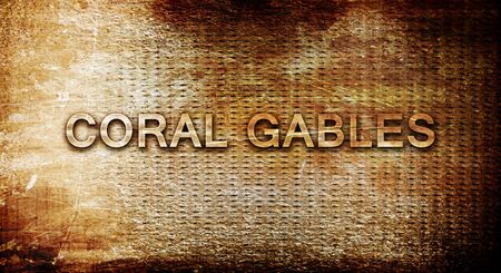 gables: coral gables, 3D rendering, text on a metal backgroundnil Stock Photo