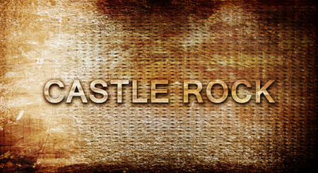 castle rock: castle rock, 3D rendering, text on a metal backgroundnil