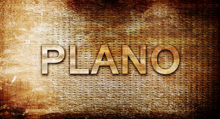plano: plano, 3D rendering, text on a metal backgroundnil Stock Photo