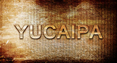 rusts: yucaipa, 3D rendering, text on a metal backgroundnil