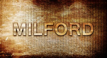 milford: milford, 3D rendering, text on a metal backgroundnil