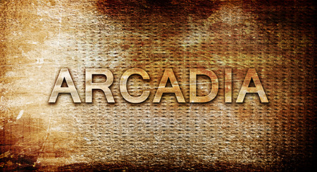 and arcadia: arcadia, 3D rendering, text on a metal backgroundnil Stock Photo
