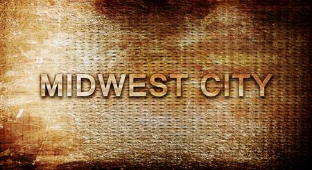 midwest: midwest city, 3D rendering, text on a metal backgroundnil Stock Photo