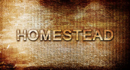 rusts: homestead, 3D rendering, text on a metal backgroundnil