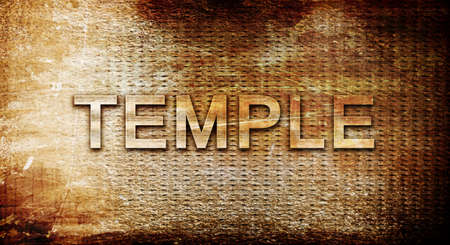 3d temple: temple, 3D rendering, text on a metal backgroundnil Stock Photo