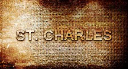 st charles: st. charles, 3D rendering, text on a metal backgroundnil