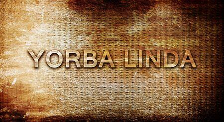 linda: yorba linda, 3D rendering, text on a metal backgroundnil