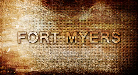 myers: fort myers, 3D rendering, text on a metal backgroundnil