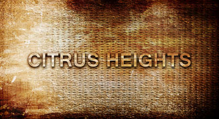 heights: citrus heights, 3D rendering, text on a metal background
