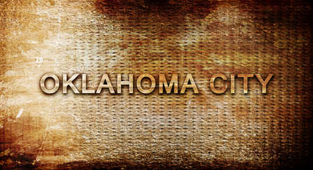 oklahoma city: oklahoma city, 3D rendering, text on a metal background