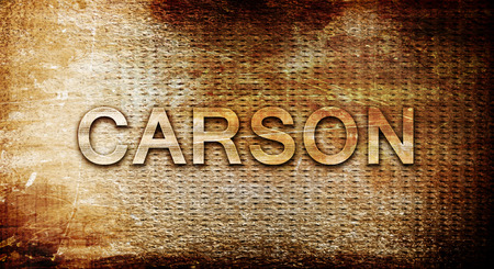 carson city: carson, 3D rendering, text on a metal background