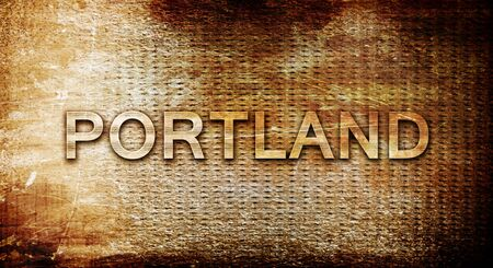 portland: portland, 3D rendering, text on a metal background