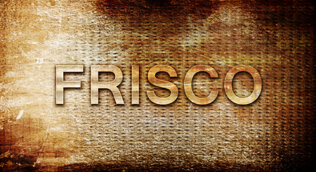 frisco: frisco, 3D rendering, text on a metal background